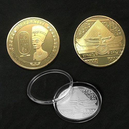 Egyptian Nefertiti Figure Pyramid Art Commemorative Coin Sundial Gold Coin Silver Coin Collection Home Decoration Accessories