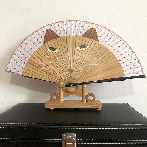 Cats Design Folding Fan Tassel Dancing Folding Hand Fan Craft Gift Original Wooden Hand Flower Bamboo Fan for Home Decor Fiestas