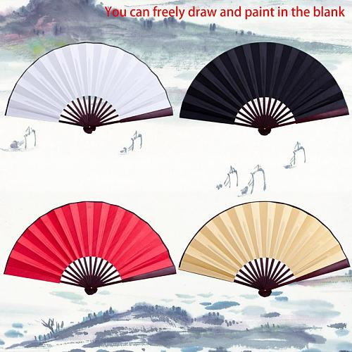 10.6 Inch/13 Inch Silk Cloth Blank Chinese Folding Fan Wooden Bamboo Antiquity Folding Fan For Calligraphy Painting Home Decor