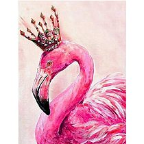 Painting By Number 40X50 50x65CM Pink Crown Flamingo Animal Wall Art Gift DIY Pictures By Numbers Canvas Kits Home Decoration