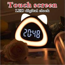 Led Digital Alarm Clock Table Cock Electronic Cock Bedside Clock Night light Wake-Up Lamp Desk With Thermometer Sound-Controlled