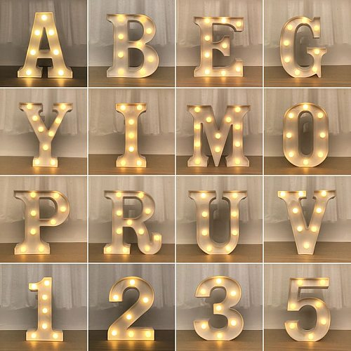 Decorative Letters Alphabet Letter LED Lights Luminous Number Lamp Decoration Battery Night Light Party Baby Bedroom Decoration