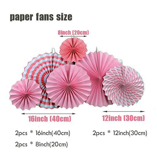 Baby Girl Boy Shower Party Favor 18pcs Pink Blue Set Mixed Size Paper Crafts Kids Birthday Decor Hanging Folding Fan Pompom
