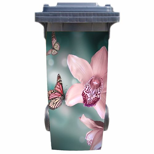 DIY 3D butterfly with flowers removable Waterproof Sticker Decals Rubbish bin trash can Cover sticker poster 120liter 240liter