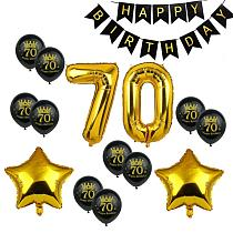 70 Birthday Black Happy Birthday Banner Number 70 Ballons 70th Birthday Party Decorations Adult 70 Years Anniversary Decor 75D
