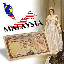 WR Fke Money Bills 100 Dollars Gold Banknotes Board of Commissioners of Currency Malaya and British Borneo Prop Money Gift