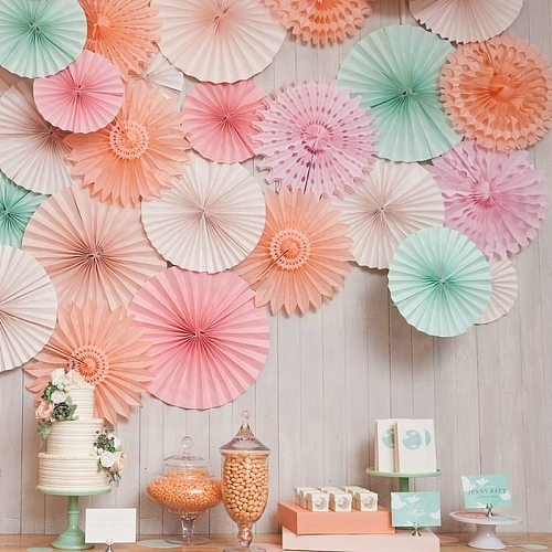 20cm/30cm/40cm Tissue paper fan wedding backdrop decoration flower paper fan birthday party hanging decorations Party DIY decor