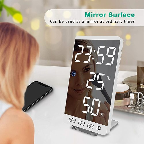 Mirror Alarm Clock Digital Desk Table Clock Touch Button Wall Time Temperature Display Night Mode Function Home Decor