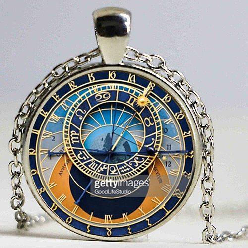 Astronomical Sundial Globe Pendant Astronomy Necklace Aqua Bronze Astrological Vintage Astronomy Science Jewelry