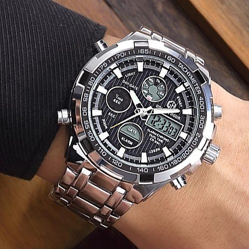 Famous Luxury Top Brand Men Military Sport Watch Men LED Analog Digital Watch Army Stainless Quartz Clock Relogio Masculino Gift