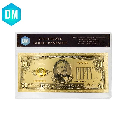1928Year's Colour USA Gold Banknote 50 Dollar Banknotes Replica Money Bills Gold Plated Business Gift Collection