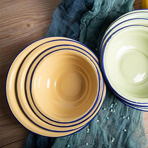 Enamel Bowl Salad Bowl Noodle Rice Bowl Durable Vintage Enamel Multifunctional Soup Plate Food Containers for Kitchen Tableware