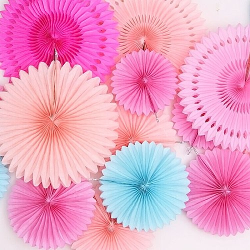 6inch 15cm Tissue Paper Fans Hanging Flower Paper Crafts Pinwheels Christmas Halloween Festive Party & Holiday DIY Decorations