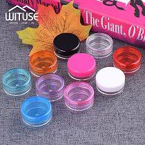 10PCS 3/5g Round Pot Empty Jar Box Nail Art Bead Storage Refillable Bottles Transparent Plastic Cosmetic Makeup Cream Container