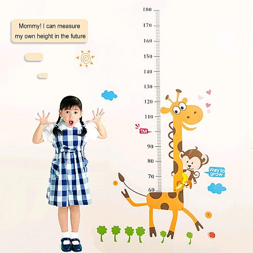 Cartoon Giraffe Monkey Height Measure Wall Stickers For Kids Home Decoration Wall Decals Kids Bedroom Growth Chart Wall Stickers