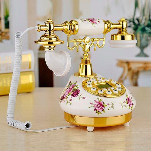 European Rose Ceramic Telephone Landline Retro Innovative High - End Telephone Rose Desktop Phone For Home Office Decor