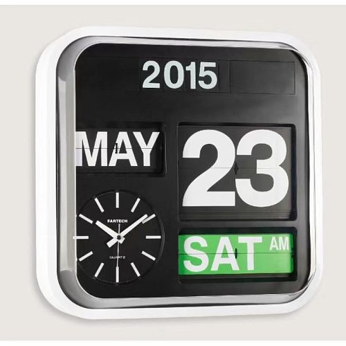 Fartech Medium 32cm Automatic Flipping Clock Creative Fashion Mechanical Calendar Flipping Clock