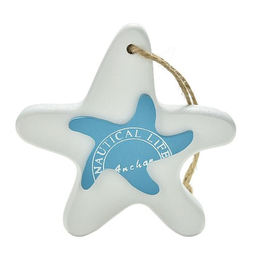 1PC small adorn wood Crafts Mediterranean Starfish Hung Fish Nautical Decor hang Wood Fish/decorated marine pendant For Kid Room