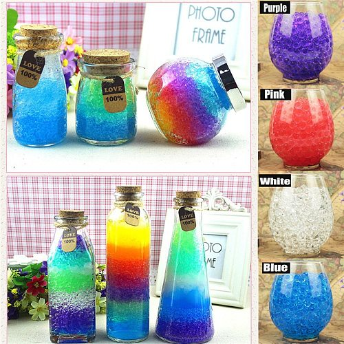 1700pcs/10bag Colorful Pearl Gel Ball Polymer Hydrogel Potted Crystal Mud Soil Water Beads Grow Magic Jelly Wedding Home Decor