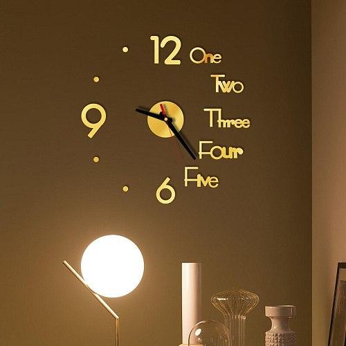 DIY Wall Clock 3D Mirror Surface Sticker Home Office Decor Clock