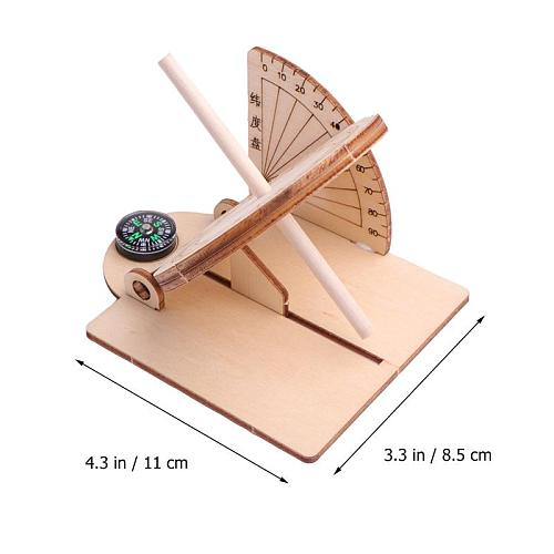 Wooden Sundial Clock Equatorial Sundial Clock Wooden Scientific Model DIY Teaching Aid Educational Toys Wooden Craft For Kids