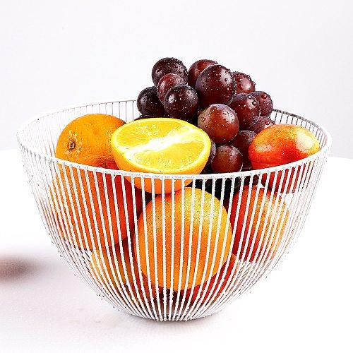 Nordic Fruit Basket Wrought Iron Modern Creative Kitchen Storage Drain Basket Home Living Room Snack Fruit Bowl