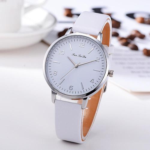 Womens Ror Watch Leather Band Analog Quartz Round Watches Minimalism White Clocks Gift Reloj Dama Elegante Relogios Femininos
