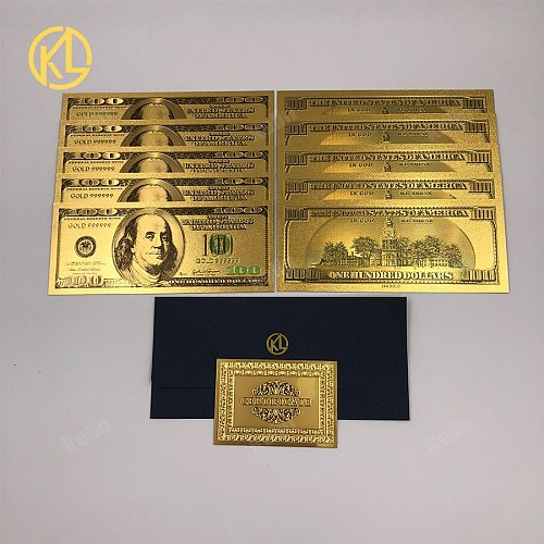 10pcs/lot Creative plastic durable Gambling Token Money Gold Foil America 100000 US Dollar with gold certificate