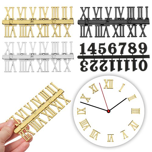 1Set 0-12 Arabic Number Plastic Replacement Gadget Silver Gold Digital Clock Numerals Parts Clock Repair Bell DIY Accessory