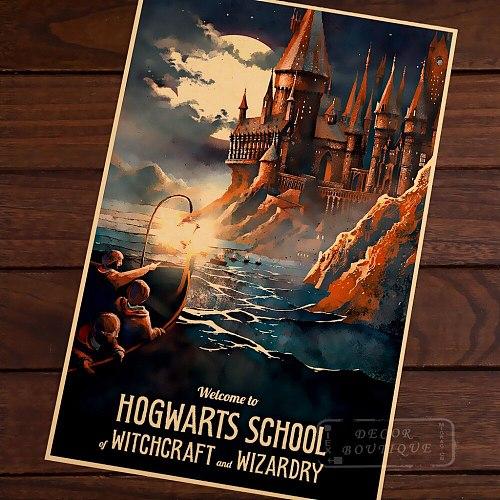 Hogwarts Magic  Welcome to Diagon Valley Propaganda Vintage Kraft Canvas Painting Poster DIY Wall Sticker Home Bar Decor Gift