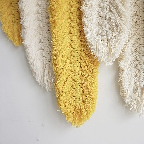 Hand-Made Macrame Wall Hanging Feather Cotton Woven Leaves Living Room Headboard Door Porch Hangings Boho Decor Wall Tapestry