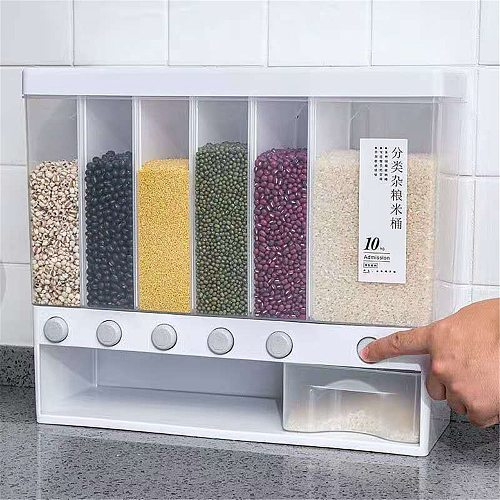 6 Grids Wall Mounted Food Storage Box Plastic Clear Container Set with Pour Lids Kitchen Storage Bottles Jars Dried Grains Tank