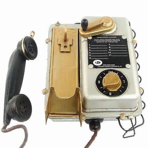 Antique classical telephone model retro vintage metal crafts decoration wall hanging handicrafts Handmade