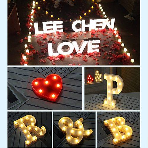 DIY Luminous LED Letter Night Light Creative 26 English Alphabet Number Battery Warm White Lamp Romantic Wedding Party Decor Hot