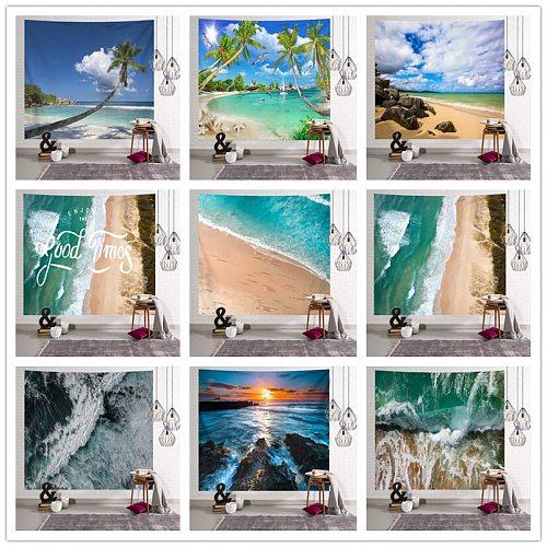 Sun Sea Tapestry Ocean Beach Wall Hanging Water Landscape Beach Decoration Blue Cloud Blue Frothy Blanket