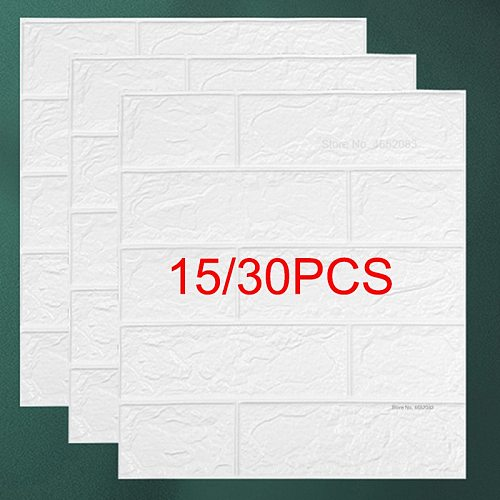 15/30pcs 3D Brick Wall Sticker Self-Adhesive DIY Waterproof Foam Wallpaper For Room Kitchen Roof Ceiling Background Wall Decals
