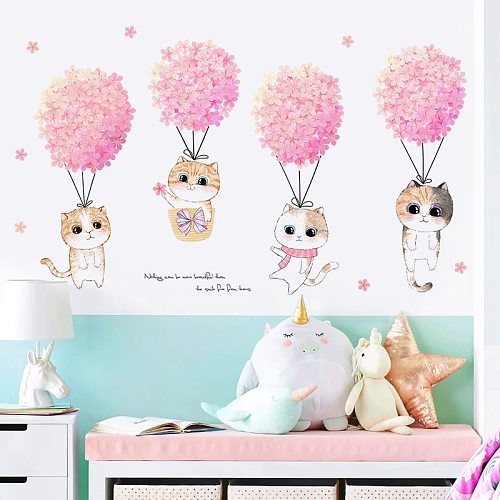 Pink Flower Cat Wall Stickers Girl Bedroom Wall Decor Kids Room Decoration Self-Adhesive Background Wall Sticker Home Decoration