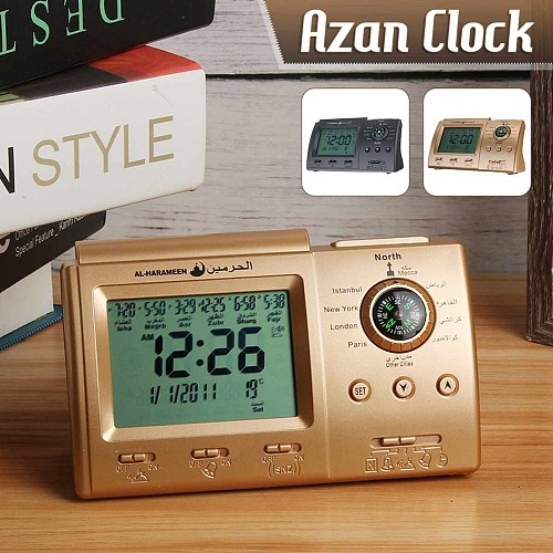 LCD Display Alarm Clock Auto Islamic Muslim Prayer Azan Table Desk Clock Adhan Calendar Thermometer Home Decoration Clocks