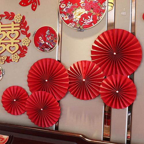 6Pcs/Set 20cm/25cm/30cm Chinese Style Red Wedding Paper Fan Happy Valentine Day Party Home Wall Backdrop Decoration DIY Decor