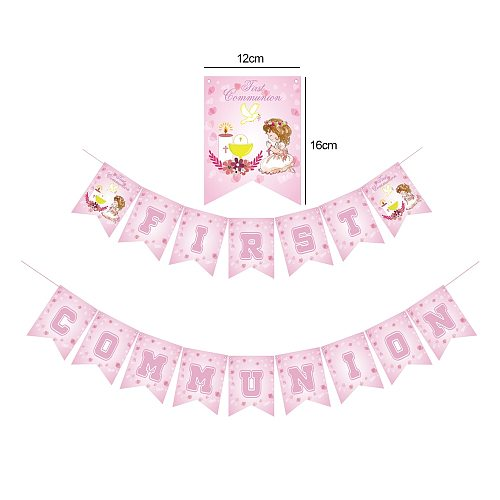 1set Pink First Communion Party Decoration Supplies Banner Balloons Cake Toppers Candy Box Combination  Girls Baptism Decor