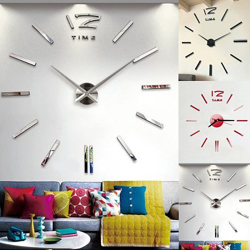 NEW Modern Large 3D Mirror Surface Wall Clock Stickers DIY Home Office Room Mural Vinyl Removable Sticker Decal Decoration Clock