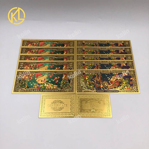 10pcs/lot Santa Claus Gold Foil Banknotes Colorful USD 2 Dollar Golden Banknote with certificate Gold Plated Christmas Gift