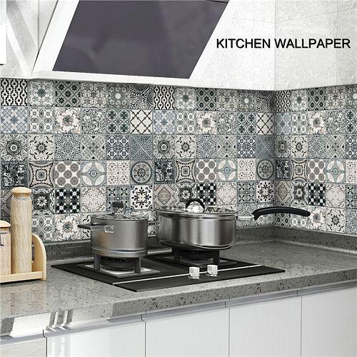 Kitchen Stickers Oil-proof Waterproof Vinyl Self-Adhesive Stove Cabinet Foil Marble Wallpaper DIY Bathroom Wall Sticker Decor