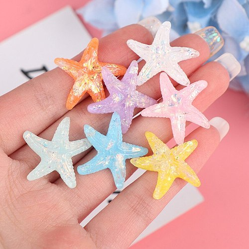 5pcs DIY Resin Adorable Glitter Colorful Starfish Shell For Home Wedding Embellishments For Scrapbooking Accessorie