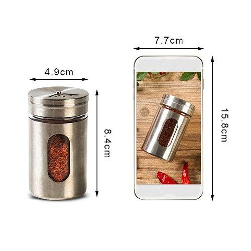Stainless Steel Seasoning Spice Storage Box Condiment Bottles Shaker Jars Organizer BBQ Cooking Herbs Kitchen Accessories Items