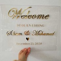 Wedding Welcome Sign, Personalized Gold Acrylic Wedding Sign Party Decors, Modern Wedding Custom Acrylic Welcome to our Wedding