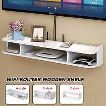 2-Tier Shelves Punch-free Wall Mount Storage TV Box Router Shelf Set-Top Box Bracket Holder Mini PC DVD Player Stand Rack