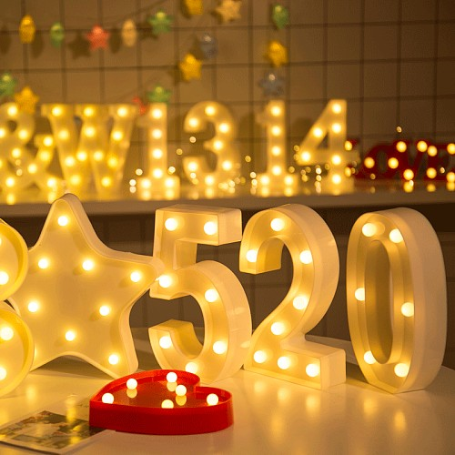 LED letter Night light 0-9 Number Party Decoration Luminous Letters numbers 26 Alphabet Christmas Wedding Party Decoration