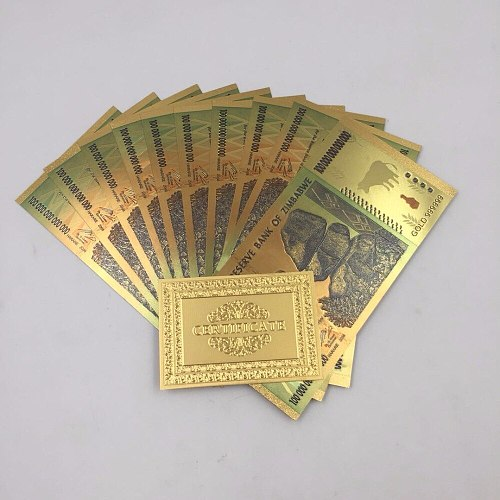 10pcs/lot Value Collectable Souvenir Banknotes Zimbabwe Colorful Gold Banknote One Hundred Trillion Dollar Souvenir Gifts
