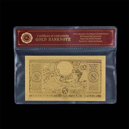 WR Fake Money Bills Belgium 100 Franc Gold Banknote with Plastic Coa Frame Prop Money Realistic Foil Banknotes
